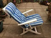 Outdoor Recliners - Pair of Matching White Chairs with Blue Cushions