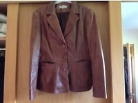 Brown leather ladies jacket