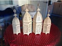 3 Lovely quite old Lanterns for sale ,cream colour in perfect condition