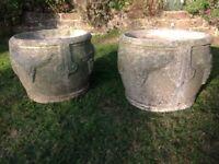 Pair of large concrete planters/urns