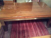 Dwell coffee table - walnut & metal. Top pulls up for laptop/tv dinners or mag storage under