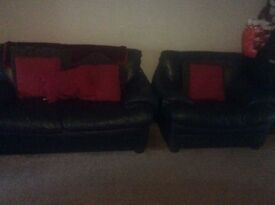 Black Leather 2 seater sofa & armchair