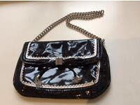 Karen millen gorgeous small clutch bag patent leather silver plaque stamped No offers was over £100