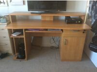 Office computer desk with cupboard and drawer