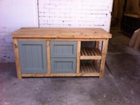 Freestanding kitchen island with open storage rack