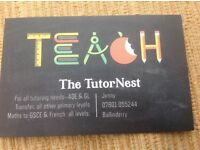 Transfer tutor/primary tutor available