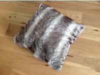 Large faux fur brown cushion unused and brand new