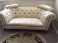 Small Victorian button back Chesterfield professionally re stored and upholstered in brocade