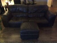 Brown leather 3 and 2 seater sofas and footstool