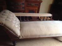 Chaise lounge cream velour fabric,