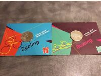 Two Olympic 2012 50p Coins CYCLING AND ROWING BOTH SEALED IN BU CONDITION !