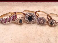 Five Diamond Gold Rings Three 18ct & Two 9ct Gold Bargain!!