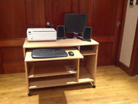 Printer scanner Monitor keyboard mouse speakers and beech desk