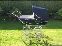 Navy Blue Silver Cross Pram