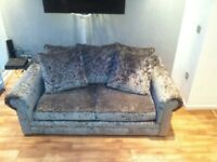 Silver crushed velvet 3seater sofa