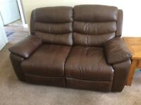 2-Seater leather effect recliner sofa