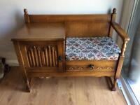Old Charm Telephone Seat and Table, with Storage and Tapestry Cushion.
