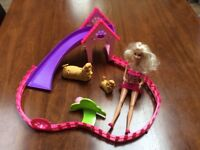 Barbie doll dog puppy training set great condition