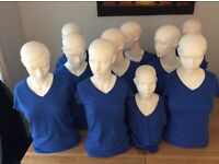 9 adult and 1 child mannequins, with protective covers , £30 each