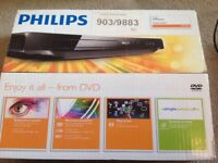 Phillips DVD player with scart lead box and remote control