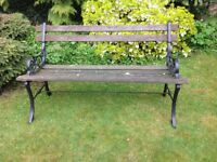 Very heavy (possible) cast iron and wooden slatted garden bench