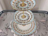Colclough Bone China 3 Tier Cake Blue, White & Gold