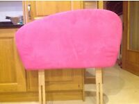 Girls single pink suede bed head