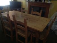 Antique pine farmhouse style dinning table with six chairs