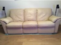 3 seater leather double reclining sofa and reclining armchair