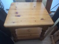 SOLID PINE SMALL TABLE, SHELF UNDERNEATH, GOOD CONDITION
