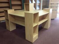 Retail display units tables x2 Pale ash effect.. Suitable books, Stationery, variety goods.
