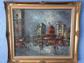 Oil painting on canvas antique style frame