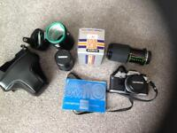 Olympus om10. 35mm camera. Classic camera. With extra lenses