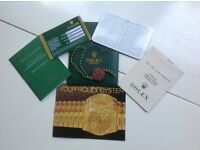 Rolex watch ,paperwork,certificate – cards – swing tag –