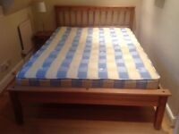 Lovely solid pine double size bed frame with excellent mattress