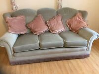 Green fabric 3 seater sofa in clean condition