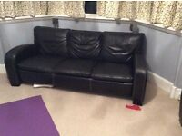 Two brown leather sofas - free if collected
