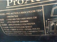 Pro action 4 man 2 room tent