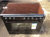 Black brand new ceramic cooker swan 90 cm