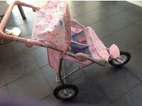 Baby born side by side double dolls buggy VGC