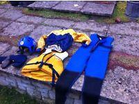 canoeing kayaking wet-suit, wet-suit boots, buoyancy aid, helmet , spray jacket size medium