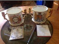 LIMITED EDITION PAIR OF BONE CHINA ROYAL ALBERT ROYAL LOVING CUPS