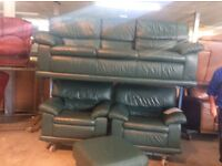 Green leather suite & stool