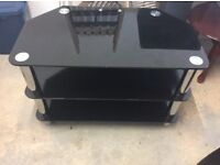 Black Glass TV Stand- Excellent condition As New
