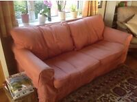 Three Seater Sofa with terracotta Laura Ashley material loose covers