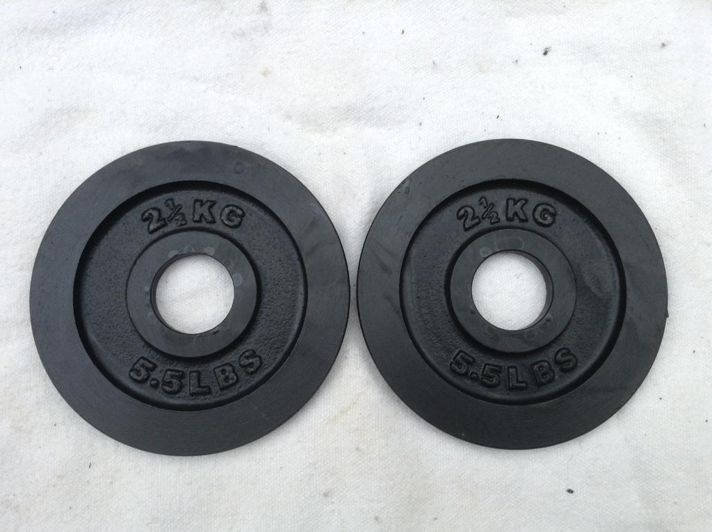 2 x 2.5kg Olympic Cast Iron Weights