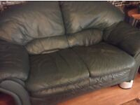 Green leather 2x two sofas