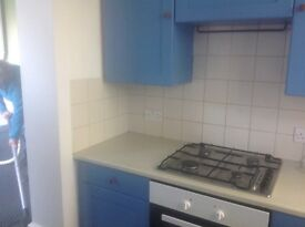 Flat a large two bedroom flat . Living room separate kitchen . Shower room and wc room . Garden