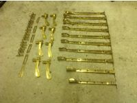 Job lot of brass window furniture.