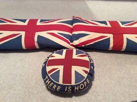 Three Union Jack cushions